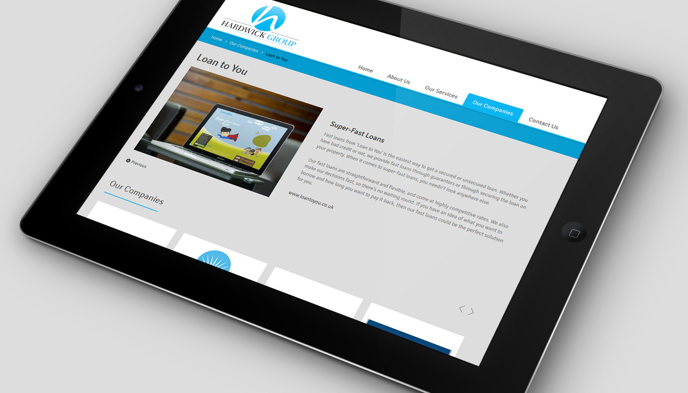 Website on tablet
